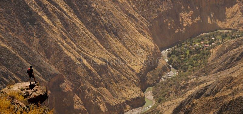 在科尔卡峡谷的风景看法,秘鲁 库存图片