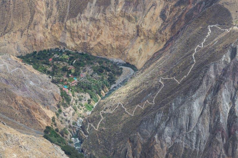 在科尔卡峡谷的绿洲Sangalle 库存图片