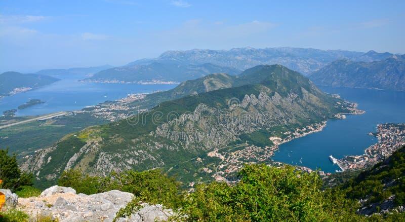 在科托尔海湾的全景在黑山 库存照片