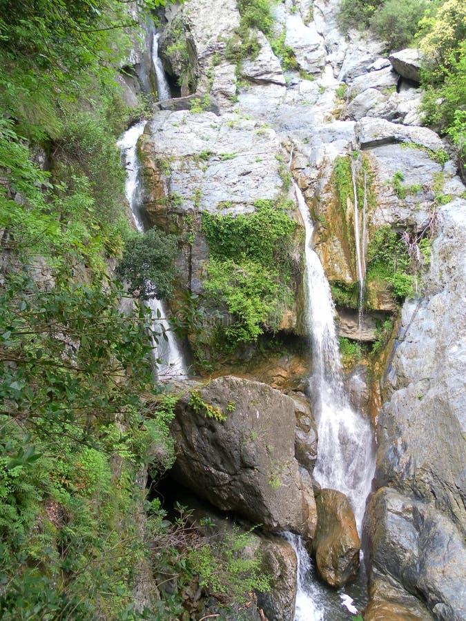 在科西嘉岛风景的瀑布 免版税库存图片