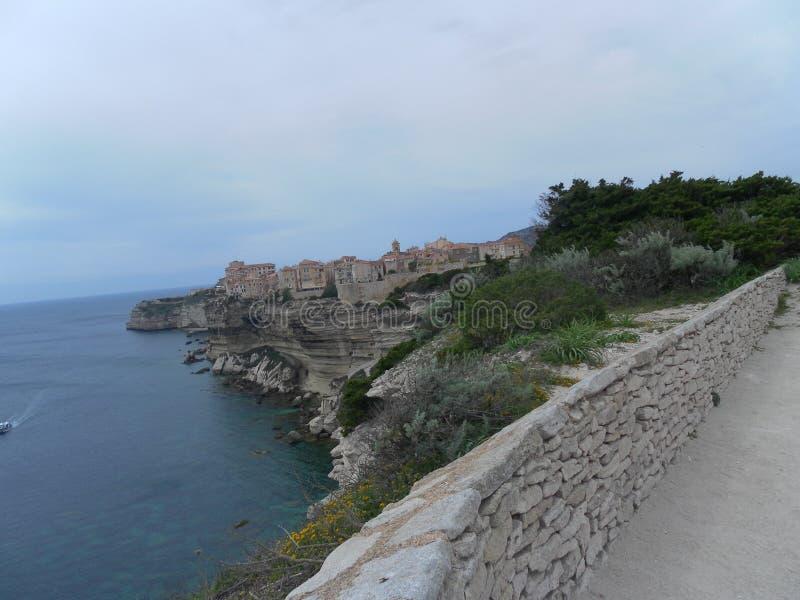 在科西嘉岛风景的Bonifacio 库存照片