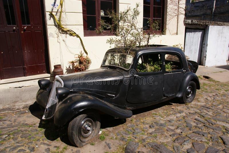 在科洛尼亚德尔萨克拉门托街道,乌拉圭的葡萄酒汽车 库存照片