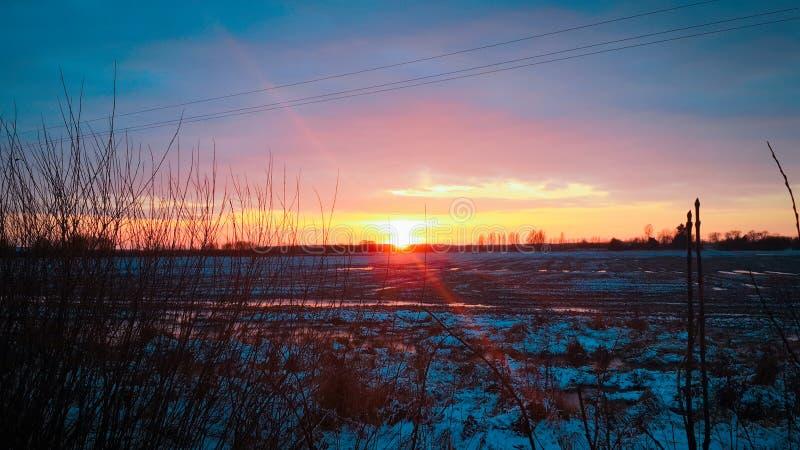 在积雪的领域的日落 免版税图库摄影