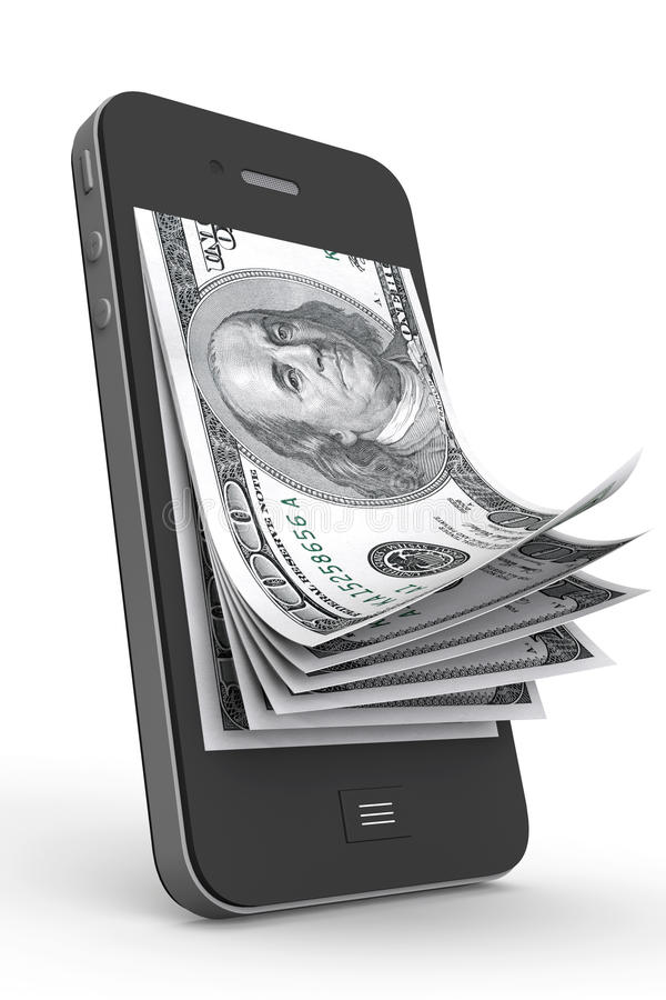 在移动电话的货币 库存例证