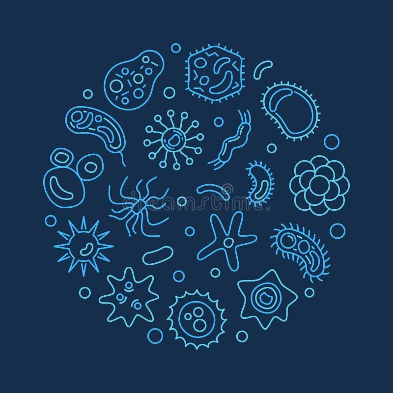 在稀薄的线型的病毒圆的传染媒介蓝色例证 向量例证