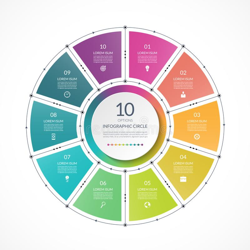 在稀薄的线平的样式的Infographic圈子 企业与10个选择的介绍模板 库存例证