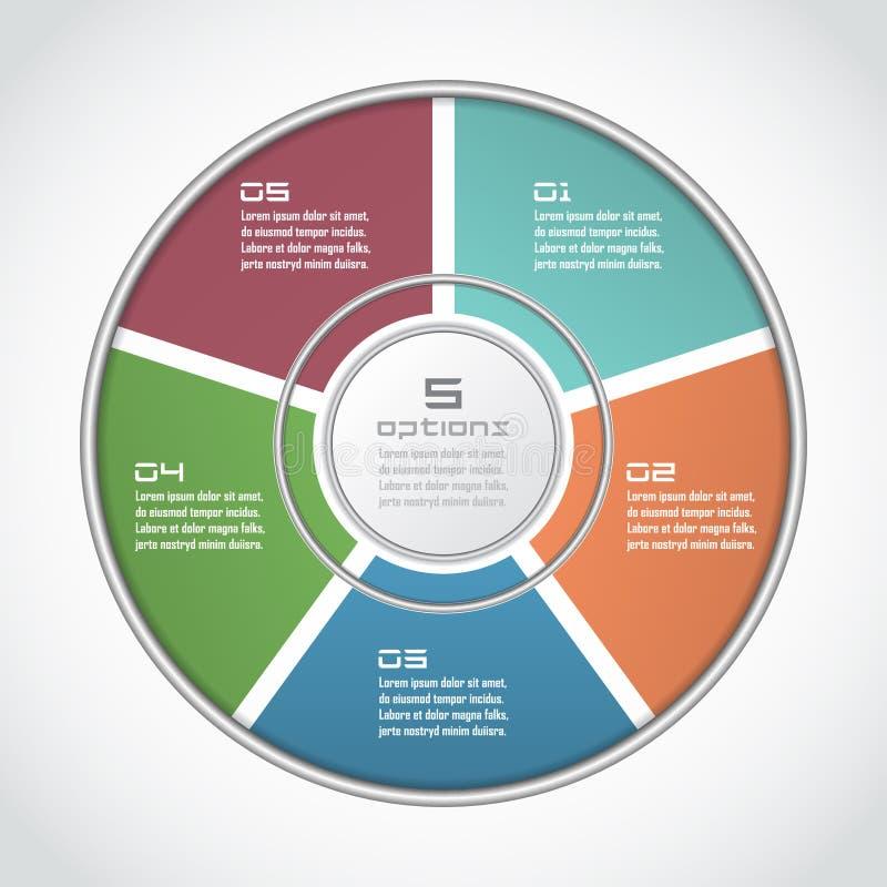 在稀薄的线平的样式的Infographic圈子 企业与5个选择,零件,步的介绍模板 能为周期dia使用 皇族释放例证