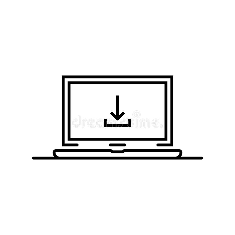 在稀薄的线膝上型计算机的黑下载箭头 库存例证
