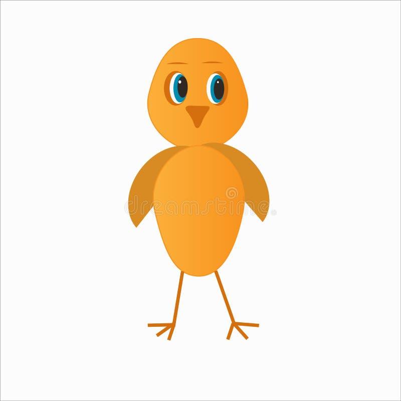 在稀薄的腿的小黄色鸡 向量例证