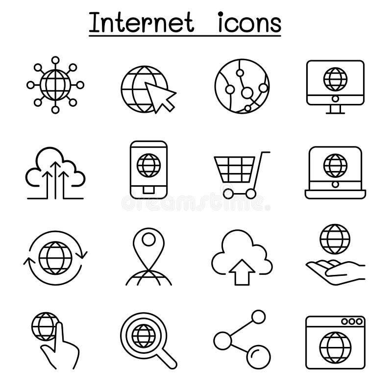 在稀薄的设置的互联网象线型 库存例证