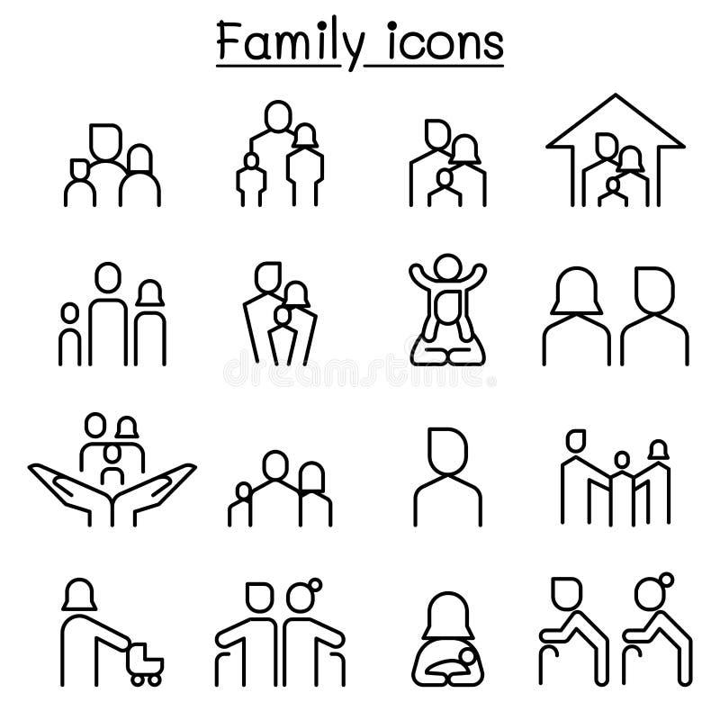 在稀薄的设置的家庭象线型 向量例证