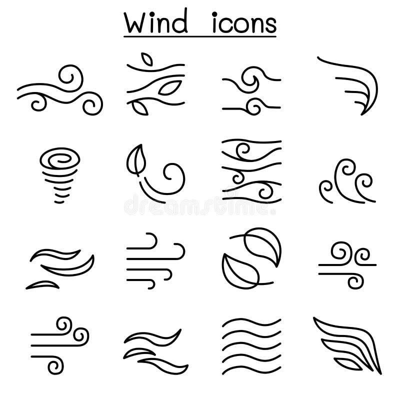 在稀薄的设置的风象线型 库存例证
