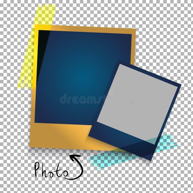 在稠粘的磁带上的现实照片框架 模板照片设计 库存例证