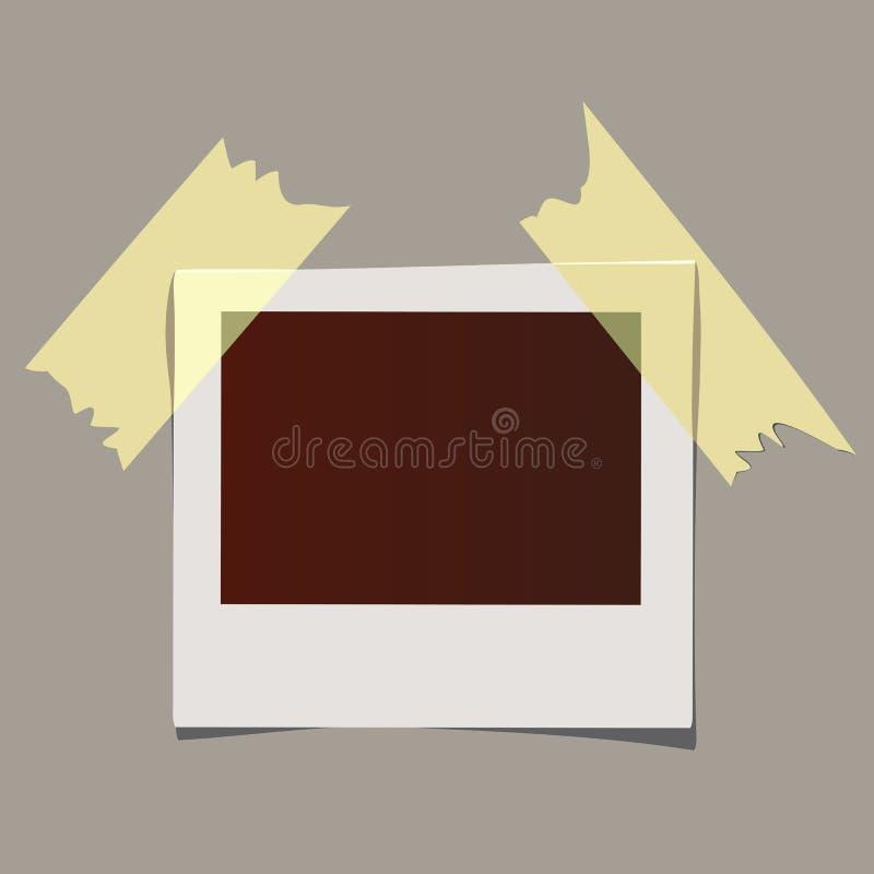 在稠粘的磁带上的现实照片框架 照片模板 皇族释放例证