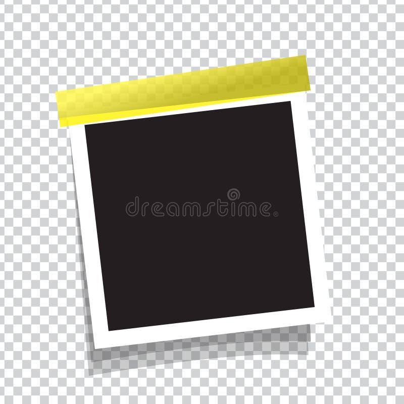 在稠粘的磁带上的现实照片框架 向量例证