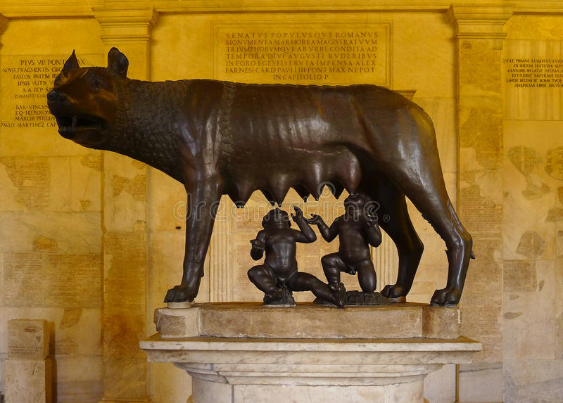 在穆塞伊Capitolini,罗马的Lupa Capitolina 免版税库存图片
