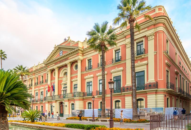 在穆尔西亚市政厅的看法在西班牙 免版税库存照片
