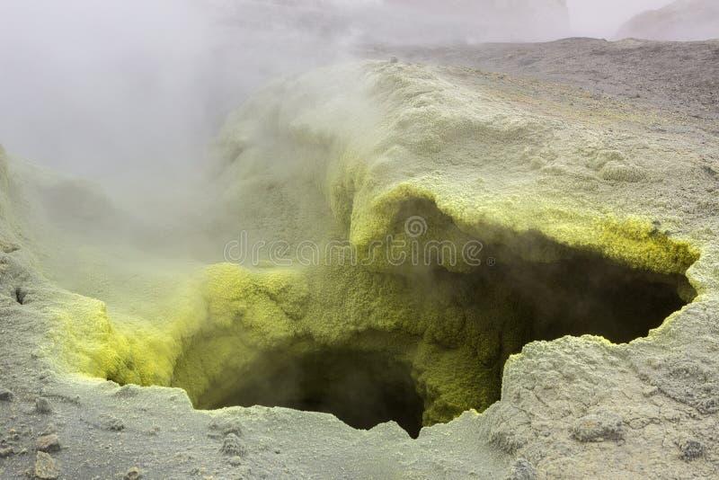 在穆特洛夫斯基火山火山火山口的喷气孔活动  图库摄影