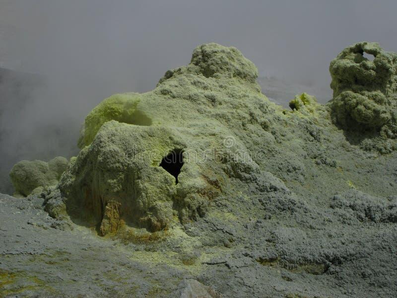 在穆特洛夫斯基火山火山,堪察加俄罗斯活跃火山口的喷气孔  免版税库存照片