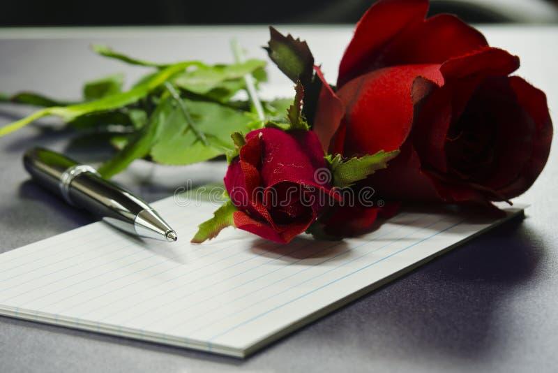 在空插件的笔与玫瑰 库存图片