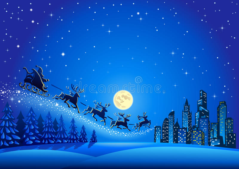 在空气的圣诞老人飞行 皇族释放例证