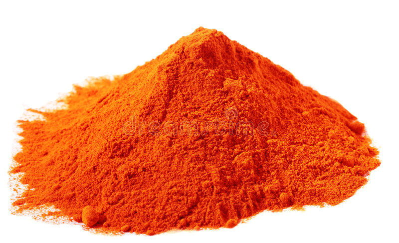 在空白堆红色的香料的着色食物 库存图片