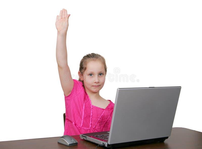在空白年轻人的计算机女孩 图库摄影