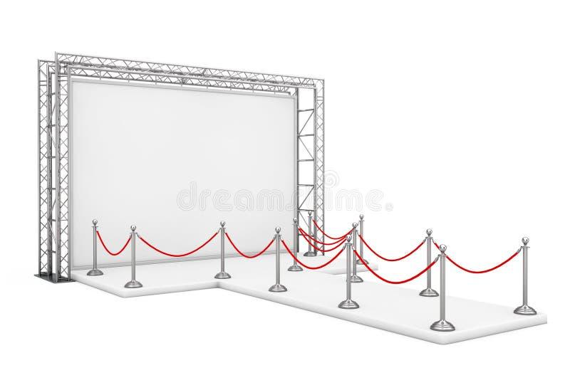在空白的广告室外横幅附近的障碍绳索在金属Tr 向量例证