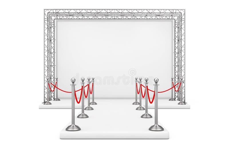 在空白的广告室外横幅附近的障碍绳索在金属Tr 库存例证