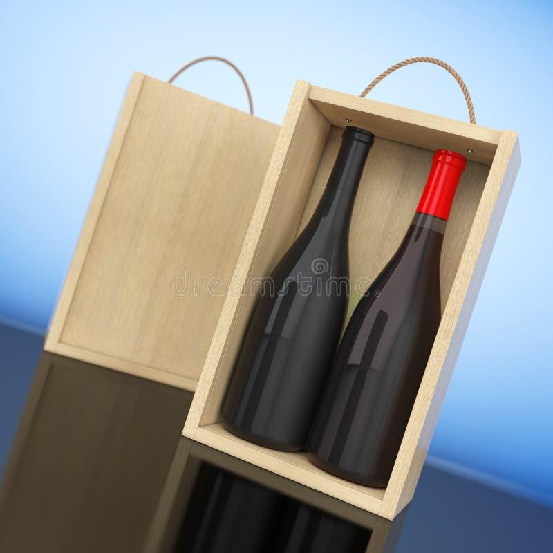 在空白的木酒的酒瓶包装与把柄 3d翻译 库存例证