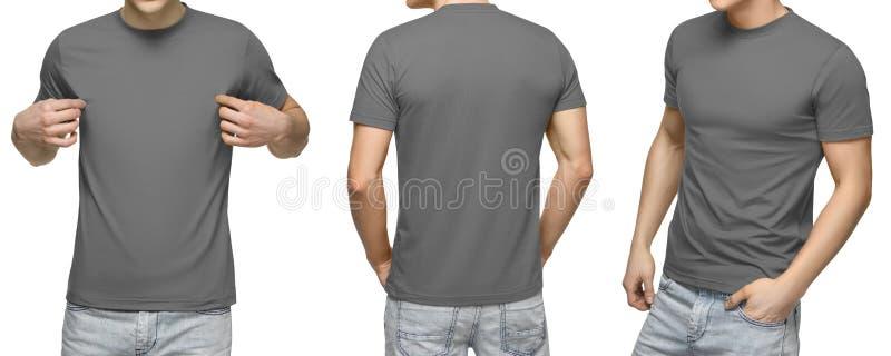 在空白的灰色T恤杉,前面和后面看法的年轻男性,隔绝了白色背景 设计人T恤杉模板和大模型印刷品的 免版税库存图片