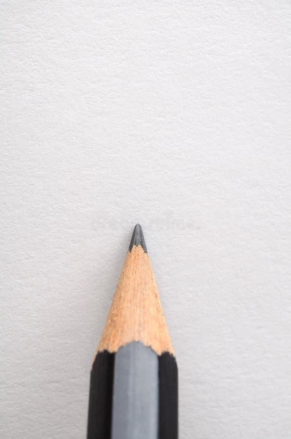 在空白的白皮书保持平衡的铅笔 免版税库存照片