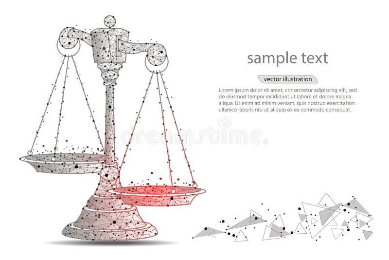 在空白的缩放比例的查出的正义 标度抽象设计,以线和小点的形式在白色背景与空间文本的 库存例证