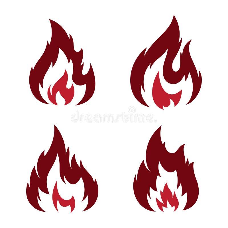 在空白的背景隔绝的集合部族火焰摘要传染媒介象 向量例证