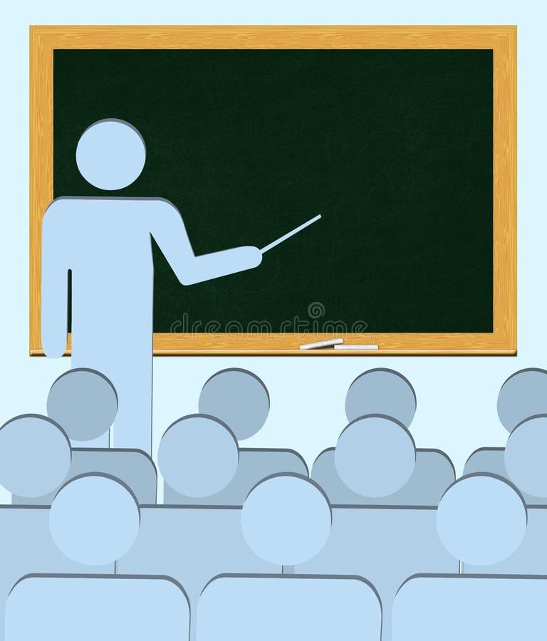 在空白的黑板教的学生(拷贝空间)后的老师 向量例证