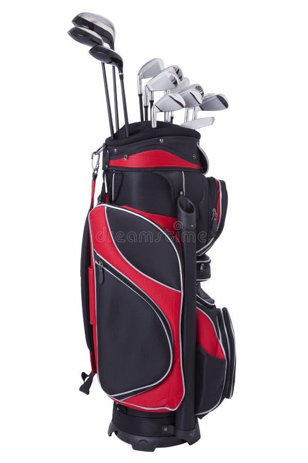 在空白背景和俱乐部查出的高尔夫球袋 图库摄影