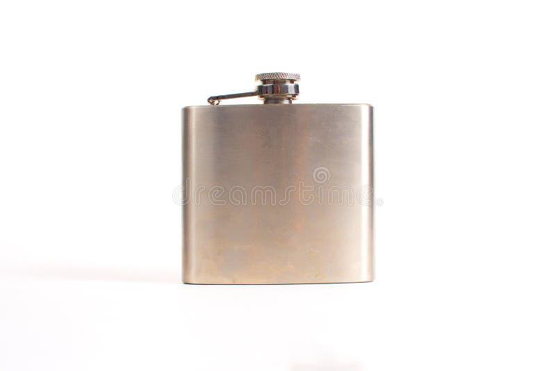 在空白背景查出的不锈的熟悉内情的烧瓶 库存照片