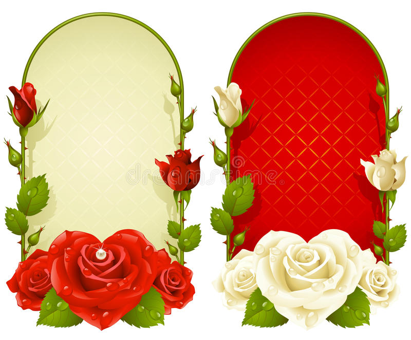 在空白背景查出的向量玫瑰色框架 向量例证