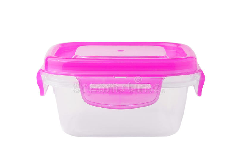 在空白背景查出的塑料食物配件箱 免版税库存图片