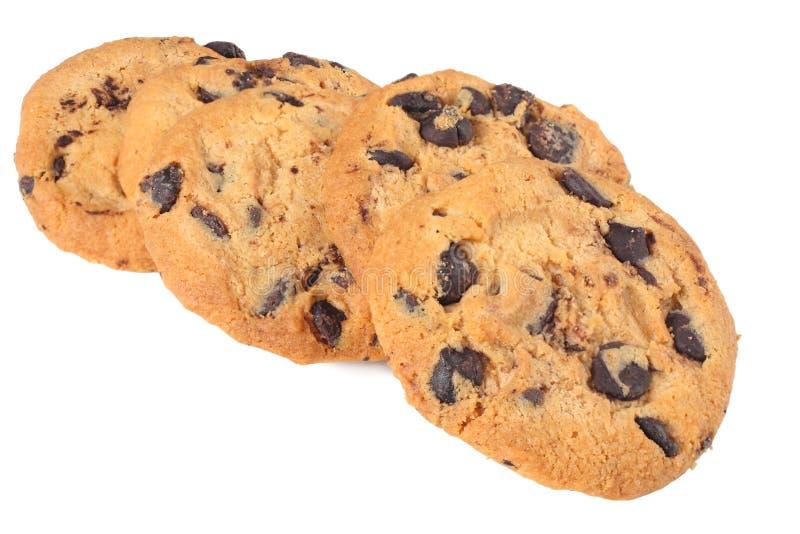 在空白背景查出的巧克力曲奇饼 甜的饼干 自创酥皮点心 免版税库存图片