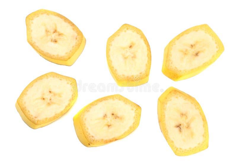 在空白背景查出的新鲜的切的香蕉 健康的食物 顶视图 库存照片