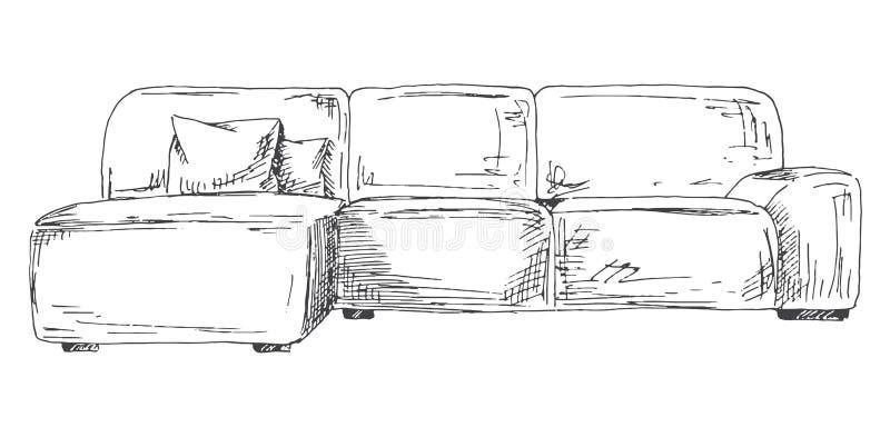 在空白背景查出的沙发 在剪影样式的传染媒介例证 库存例证