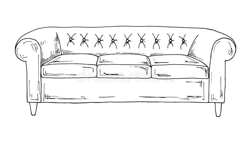在空白背景查出的沙发 在剪影样式的传染媒介例证 皇族释放例证