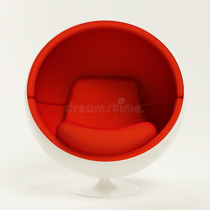 在空白背景查出的现代红色球椅子 库存例证