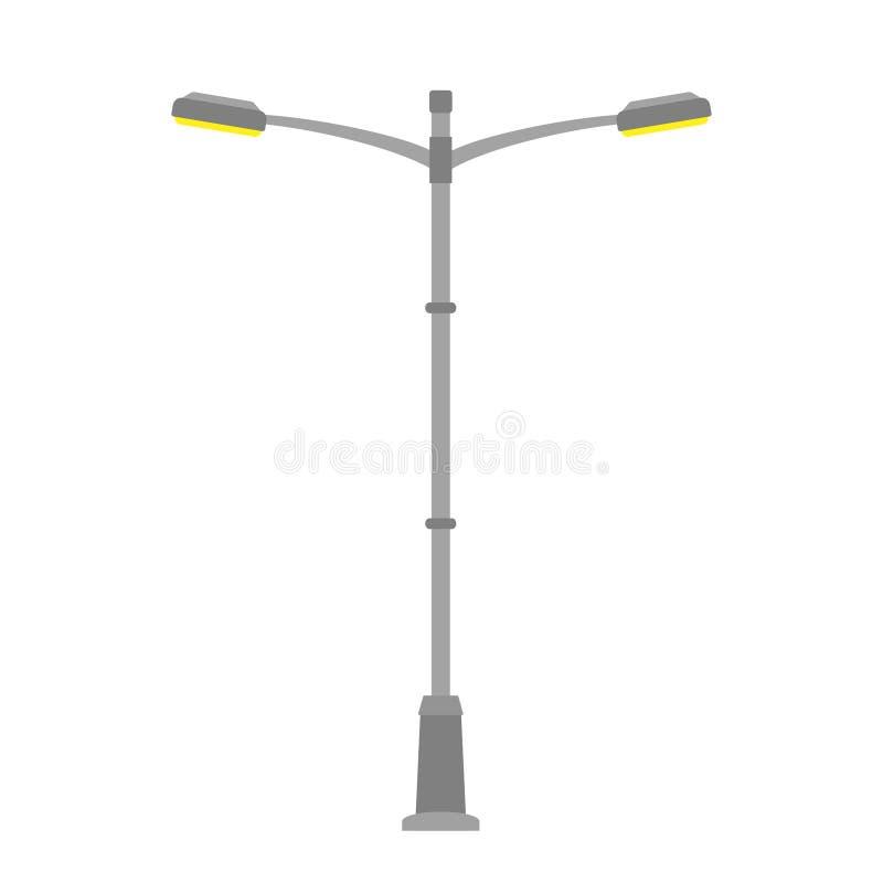 在空白背景查出的街灯 在平的样式的室外灯岗位 也corel凹道例证向量 皇族释放例证