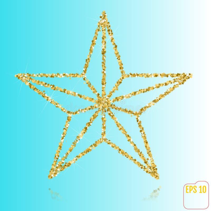 在空白背景查出的金黄圣诞节星形 顶视图 去 库存例证
