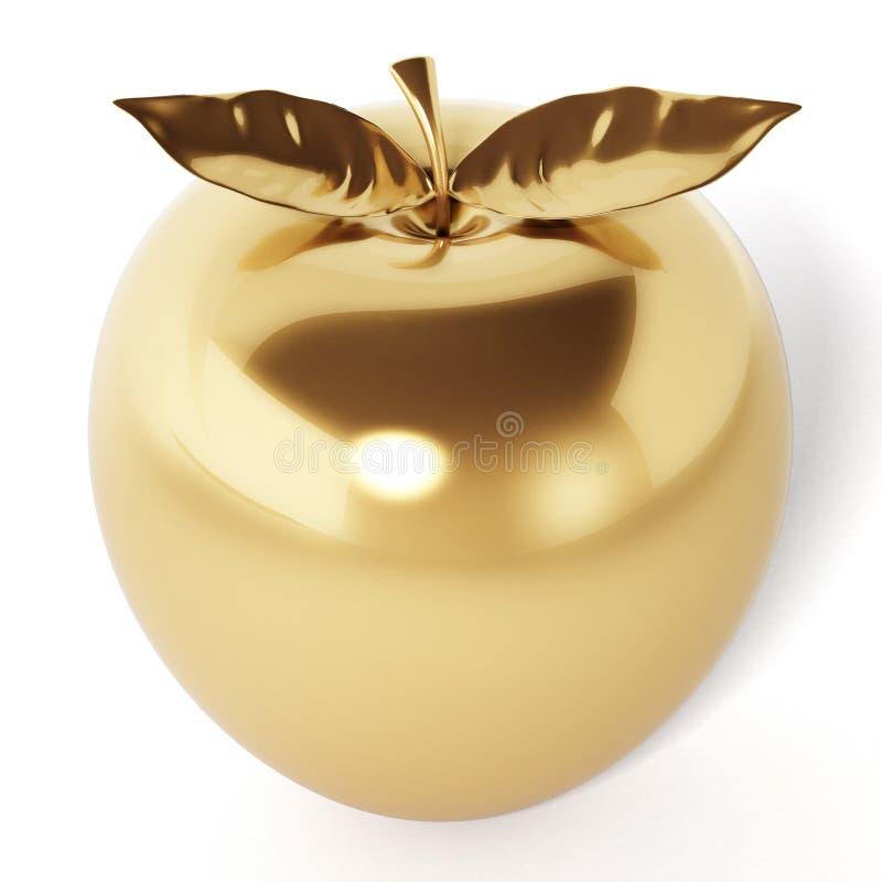 在空白背景查出的金黄苹果 3d例证 皇族释放例证