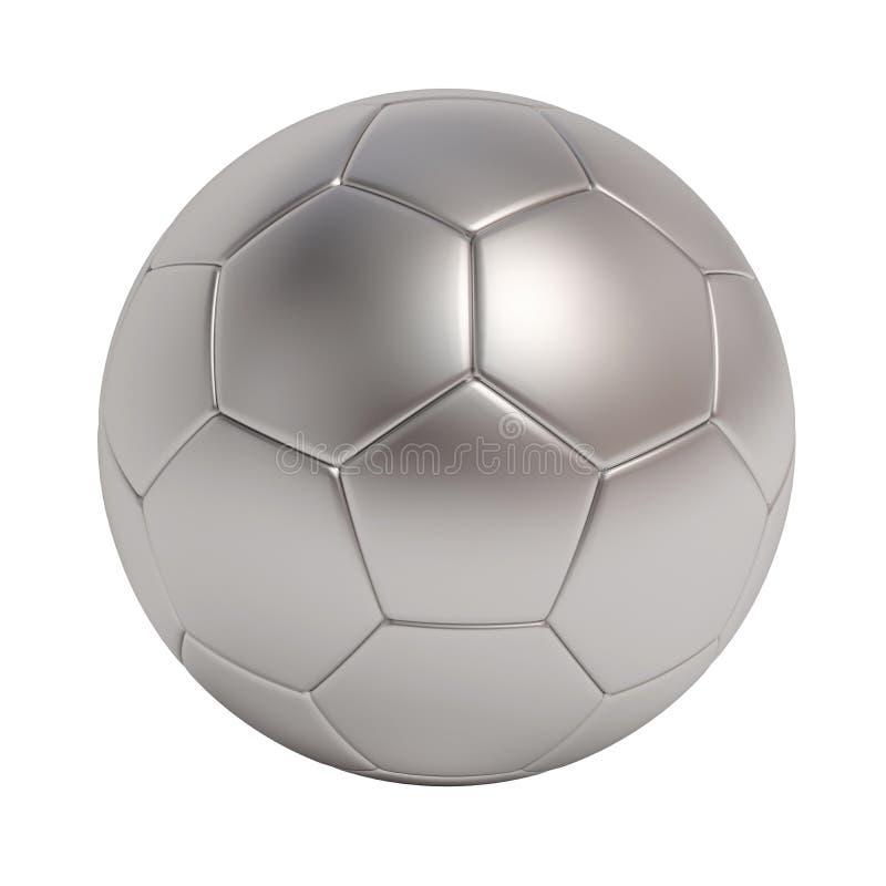 在空白背景查出的银色足球 库存例证