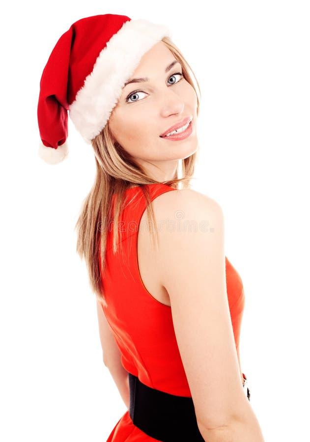 在空白背景的圣诞老人白肤金发的女孩 免版税图库摄影