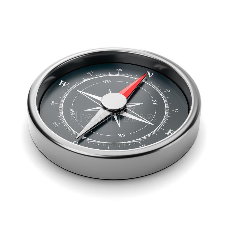 在空白背景的指南针 库存例证